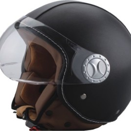 BHR art 701 Casco Demi Jet in Pelle, Nero, con visiera